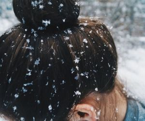 bun, hair, and snow image