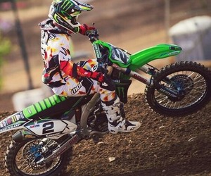 dirt bike, kawasaki, and motocross image