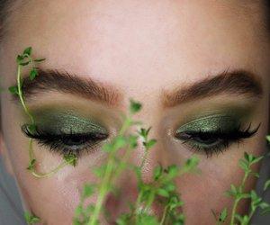blue eye, green, and eye makeup image