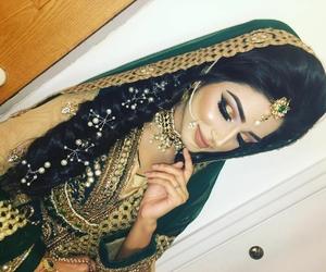 makeup, nose ring, and wedding dress image
