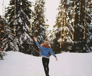 snow, girl, and nature image