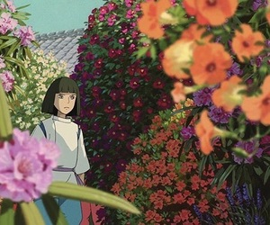 anime, spirited away, and flowers image