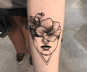 tattoo, woman, and flower image