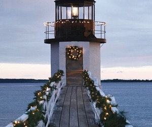 christmas, light, and lighthouse image