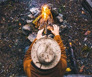 fire, fall, and camping image