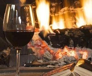 cozy, wine, and fire image