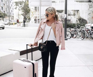 travel, outfit, and pink image