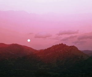 pink, mountains, and photography image