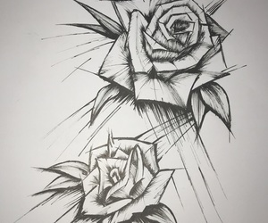 art, dessin, and roses image