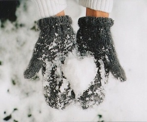 snow, winter, and heart image