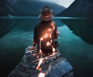 light, girl, and nature image