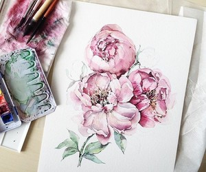 art, drawing, and bouquet image