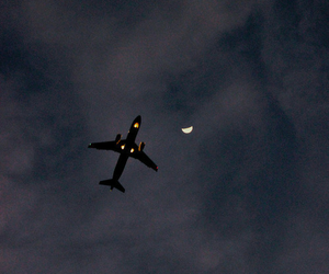 airplane, moon, and traveling image