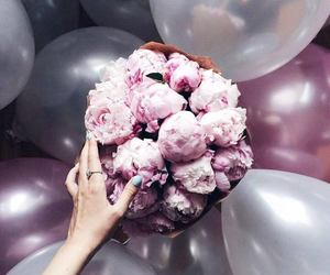 flowers, balloons, and pink image
