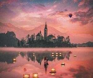 floating, imagine, and lanterns image