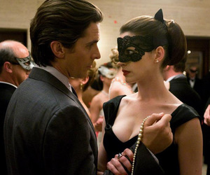 Anne Hathaway, bruce wayne, and christian bale image