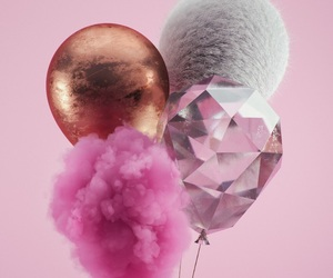 pink, balloons, and wallpaper image