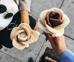 food, ice cream, and rose image