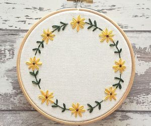 flowers, embroidery, and yellow image