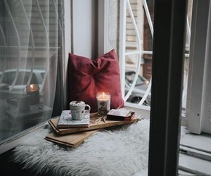 cozy, candle, and pillow image