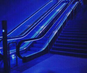 blue, aesthetic, and escalator image
