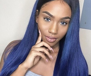 blue, weave, and wig image