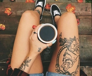 autumn, flower tattoo, and wolves image