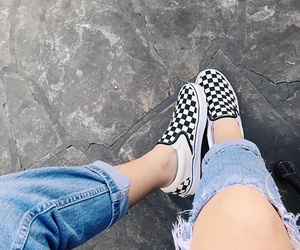 checker, shoes, and vans image