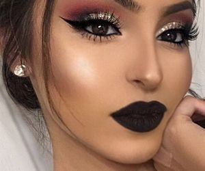 eyeliner, glitter, and bronzer image