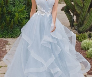 bridal gown, romantic, and sky blue image