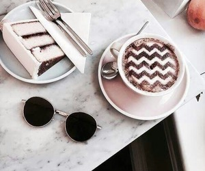 cake, coffee, and drinks image