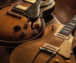 brown, electric guitar, and gibson image