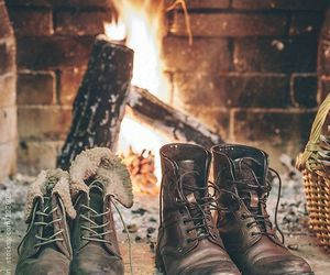 winter, boots, and fire image