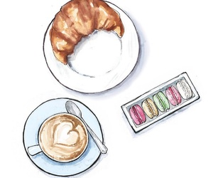 art work, croissant, and coffe time image