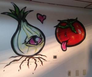 art, onion, and tomato image