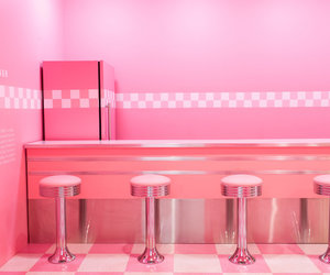 ice cream parlor, pink, and retro image