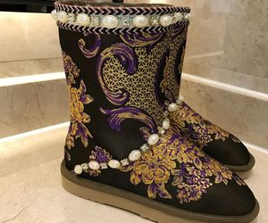 black boots, leather boots, and snow boots image