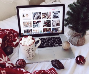 christmas, laptop, and cozy image
