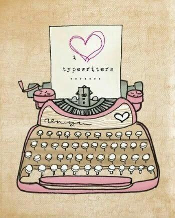 typewriter, heart, and pink image