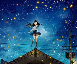 anime, night, and stars image