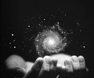 galaxy, hands, and universe image
