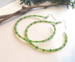 etsy, kelly green, and beaded hoops image