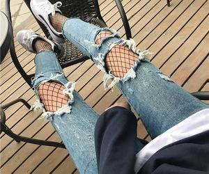 denim, girl, and fishnet image