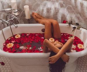 shay mitchell, bath, and flowers image