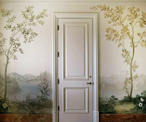 door, art, and flowers image