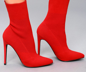 red ankle boots image