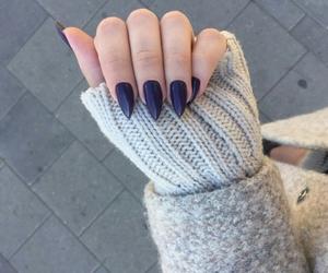blue nail polish, manicure, and nail art image