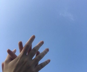 hands, sky, and couple image