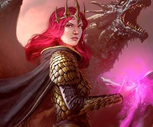 big dragon, dragon scale armor, and redhead magic dragon image