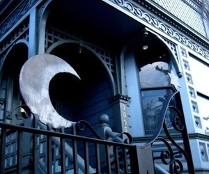 moon, blue, and house image